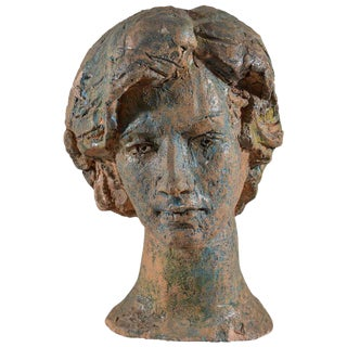 Italian Painted Chalkware Bust For Sale