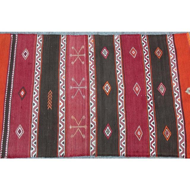 Orange Orange Stripe Design Kilim Rug - 4' 3'' X 2' 6'' For Sale - Image 8 of 11