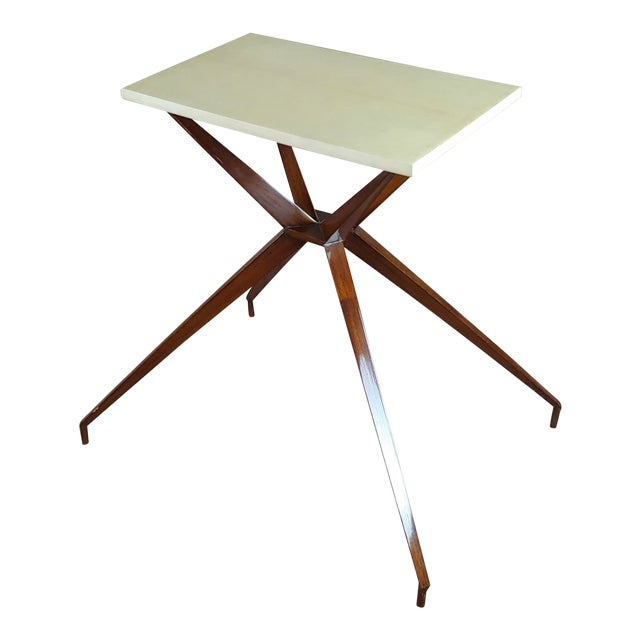 Mid Century Modern Geometric Side Table With Goatskin Top For Sale