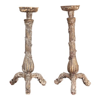 Pair of 18th Century Large Carved Candlesticks