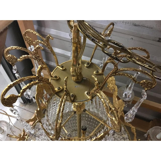 Late 1970's Empire Style Gold Toned & Crystal Chandelier For Sale - Image 10 of 11