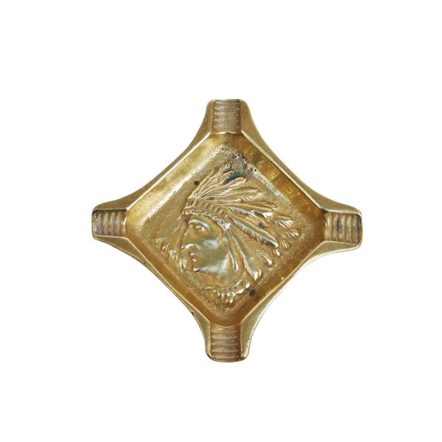 Native American Brass Ashtray For Sale - Image 4 of 4