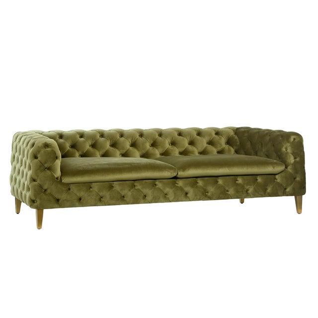 Mid-Century Modern Modern Green Tufted Velvet Sofa For Sale - Image 3 of 3