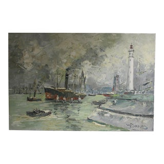 Seascape Harbour Oil Painting by Walter Prescher Van Ed For Sale
