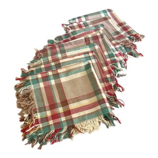 20th Century Country Plaid Fringe Dinner Napkins - Set of 8 For Sale