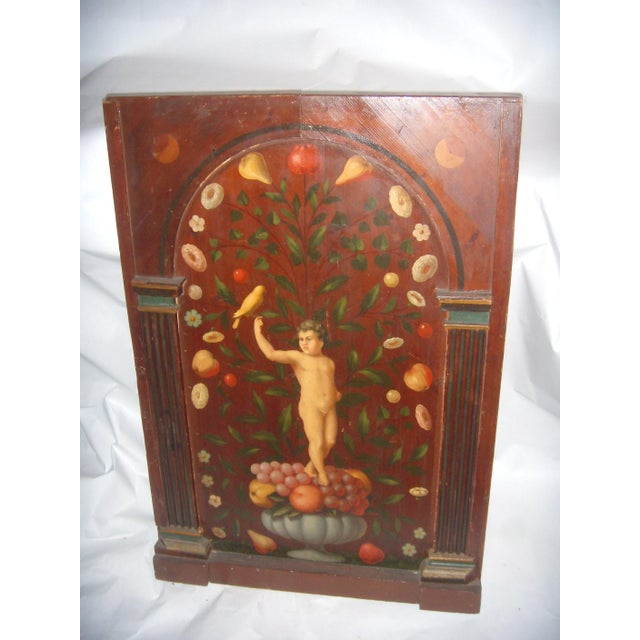 Late 19th Century Antique Painted French Wood Panel of Cherub & Fruit & Bird For Sale - Image 5 of 11