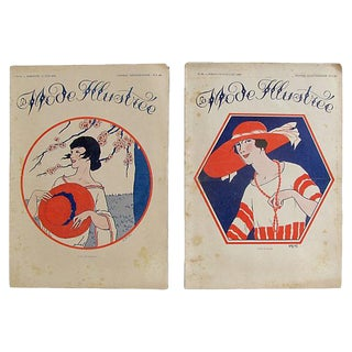 Antique 1920s French Fashion Illustrations - Pair For Sale