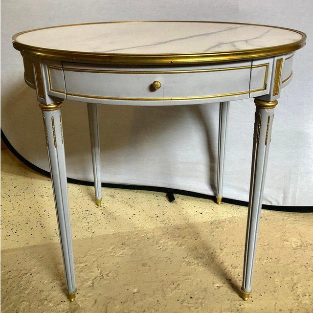 Pair Large Hollywood Regency painted bronze mounted Bouiliotte, end or center tables. A fine blu green color shines on...