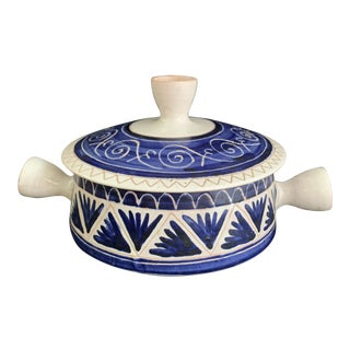 Mid-Century Allix Michel Alexandrov Vallauris French Faience Pottery Tureen Casserole For Sale