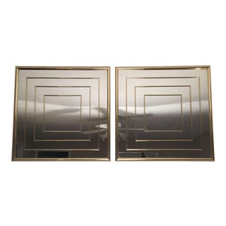 Glamorous Gold Concentric Square Mirrors a Pair