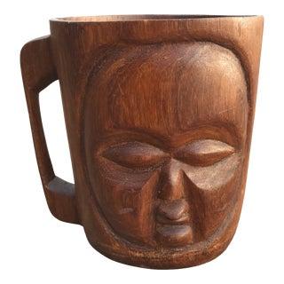 Vintage Carved Tribal Face Wood Planter For Sale