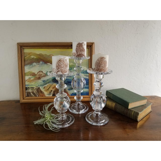 2010s William Sonoma Glass Baluster Pillar Candle Candlesticks - Set of 3 For Sale - Image 5 of 9