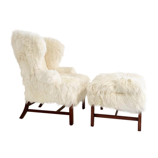 Astounding Large Wingback Chair And Ottoman In Angora Goatskin Alphanode Cool Chair Designs And Ideas Alphanodeonline