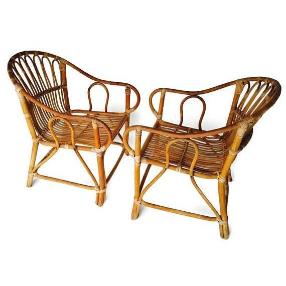 Gorgeous Mid Century Modern Franco Albini Style Bamboo Arm Chair Pair, Sculpted Bamboo and Rattan Franco Albini Style...