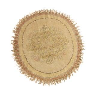 Vintage Hereke Beige Cream Oval Rug With Boteh Medallion Design For Sale