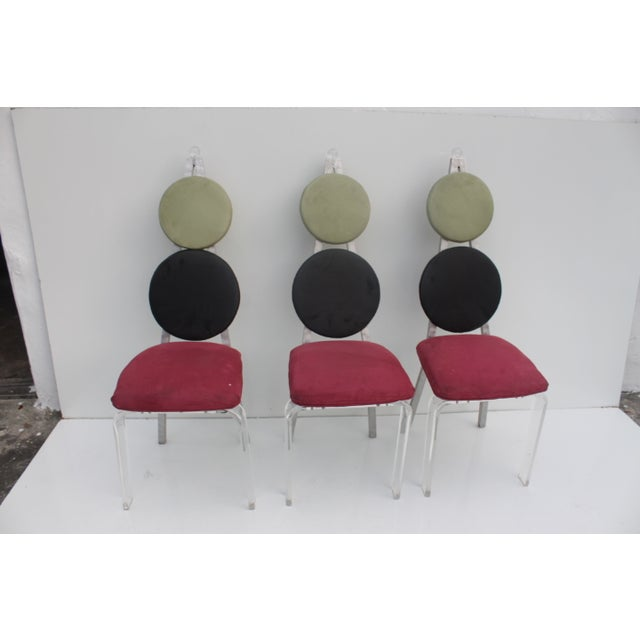 Vintage Lucite & Aluminum Dining - Chairs Set of 3 For Sale - Image 10 of 11