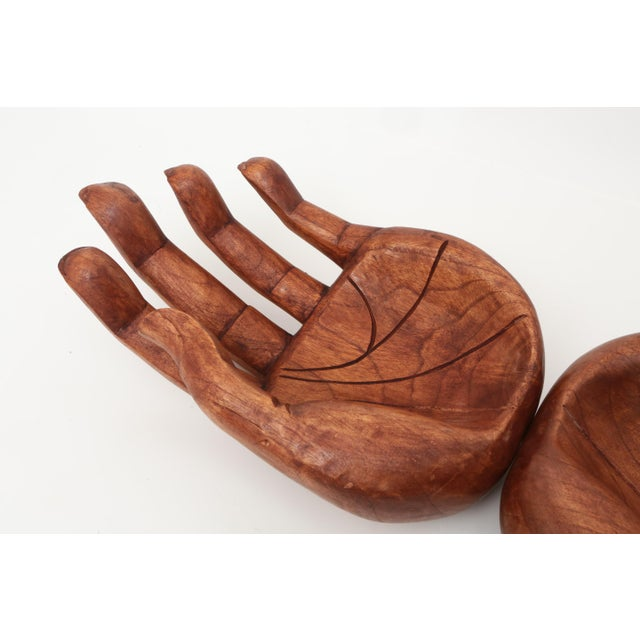 1960s Vintage Oversized Hand Carved Solid Wood Hand Sculpture Tray For Sale - Image 5 of 6