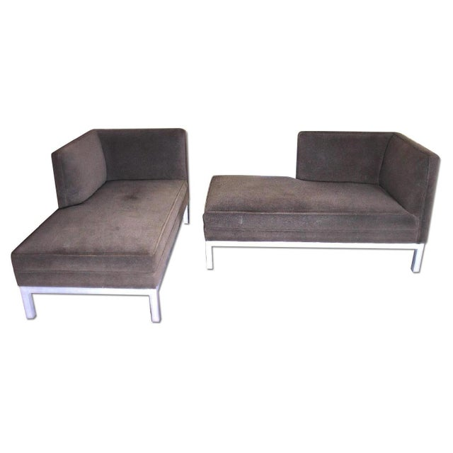 These exquisite, elegant modernist chaise longues on steel frames and feet create a grand style statement for inviting...
