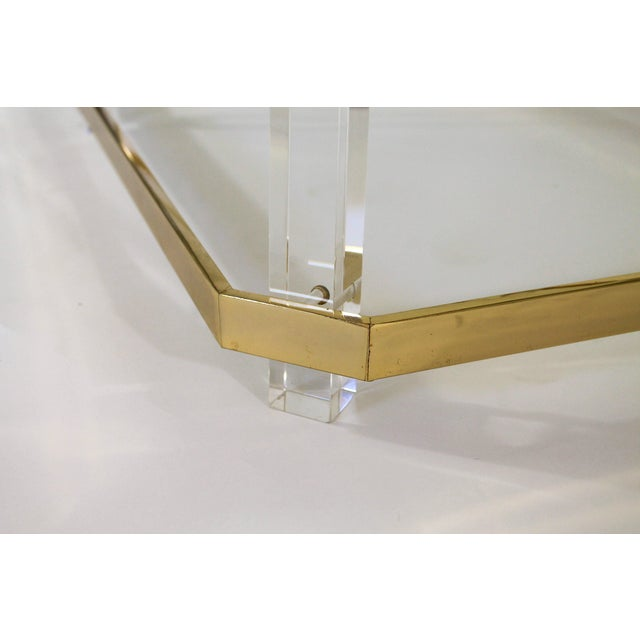 Lucite and Brass Coffee Table For Sale In Milwaukee - Image 6 of 7