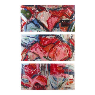 """""""Flesh Tone"""" Abstract Painting by William Phelps Montgomery - Set of 3 For Sale"""