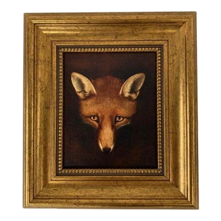 Petite Gold Framed Fox Face Print For Sale