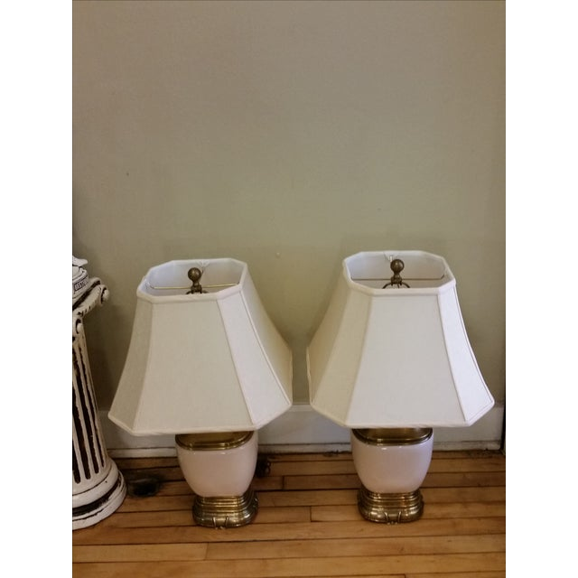 Chapman Ceramic and Brass Hollywood Regency Lamps - Pair - Image 5 of 9