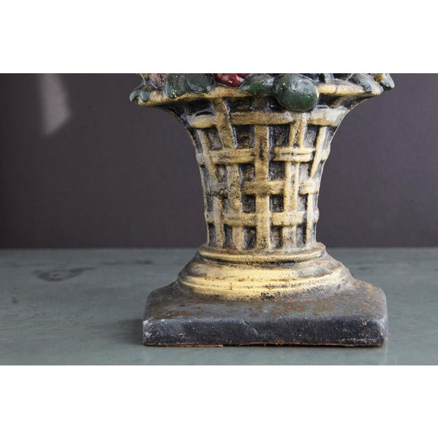 Rustic 19th Century Large Cast Iron Hand Painted Polychrome Flower Basket Doorstop For Sale - Image 3 of 11
