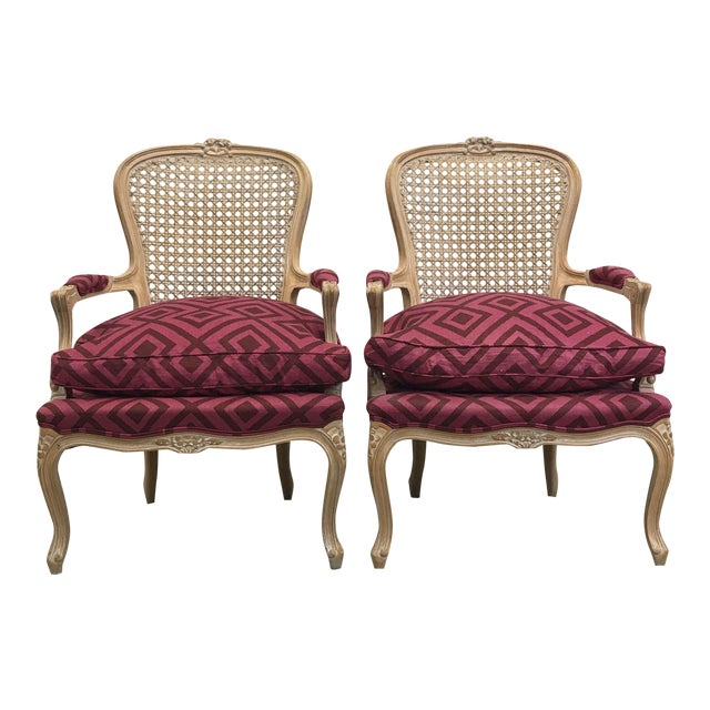 Pair of Pink Upholstered Cane Back Accent Chairs - Image 1 of 4