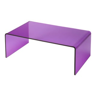 Memphis Style Purple Acrylic Waterfall Table For Sale