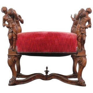Italian Renaissance Style Carved Figural Bench For Sale