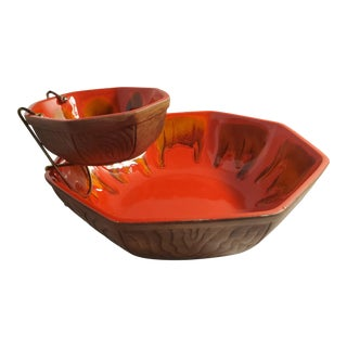 Vintage 1960s Sequoia Pottery Drip Glaze Chip and Dip Set For Sale