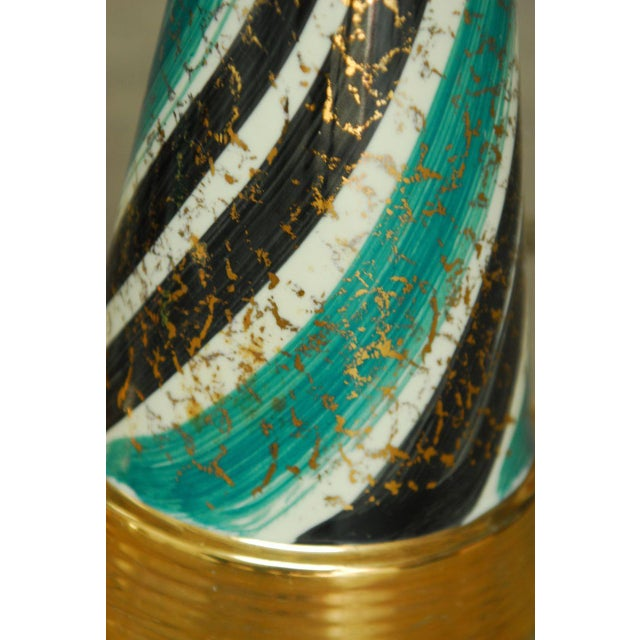 Mid-Century Gilt Ceramic Striped Lamps - A Pair - Image 5 of 6