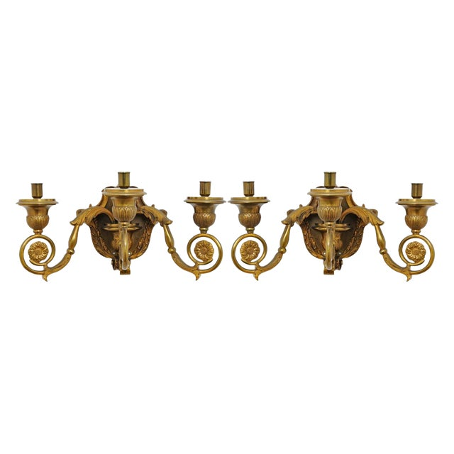 19th Century French Gilt Bronze Sconces - A Pair For Sale