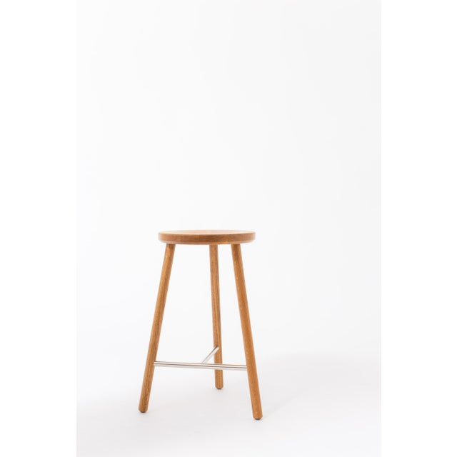 Not Yet Made - Made To Order Steven Bukowski Contemporary Scout Stool in White Oak and Nickel For Sale - Image 5 of 5