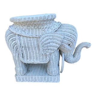 Vintage Rattan Wicker Elephant Side Table For Sale