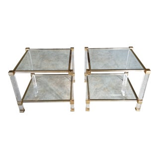 "1970's Signed ""Pierre Vandel"" Lucite & Gilded Metal End Tables Pair For Sale"