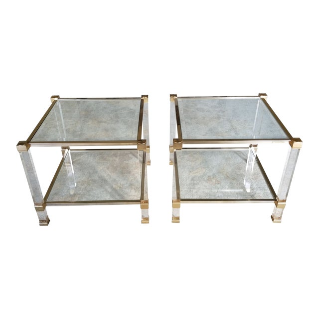 """1970's Signed """"Pierre Vandel"""" Lucite & Gilded Metal End Tables Pair For Sale"""