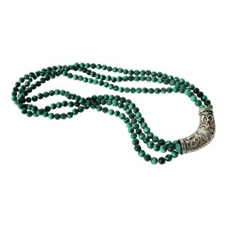 Three Strand Malachite and Silver Necklace For Sale