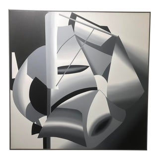Abstract Black and White Painting, Framed For Sale
