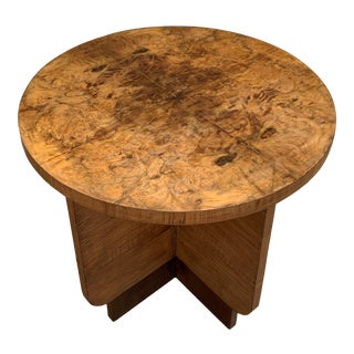 Italian Round Art Deco Burl Walnut Coffee Side Table With Ebonized Legs For Sale
