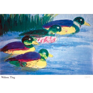 1990 Walasse Ting '4 Ducks (Sm)' Contemporary Multicolor,Blue France Offset Lithograph For Sale