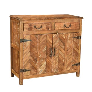 Salvaged Herringbone Cabinet For Sale