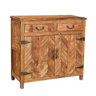 Salvaged Herringbone Cabinet For Sale