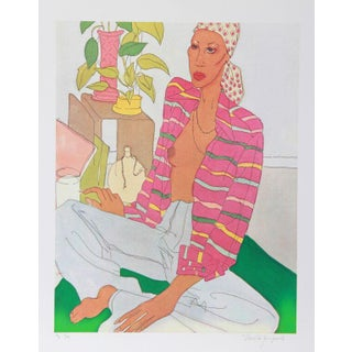"V. Janopoulos, ""Woman in Pink Shirt,"" Lithograph For Sale"