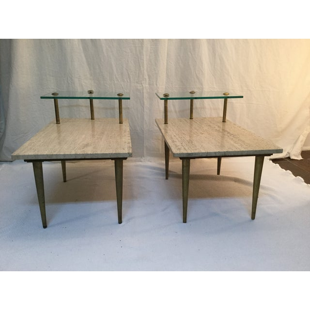 1950's Two Tear Travertine Side Tables - Pair - Image 3 of 11