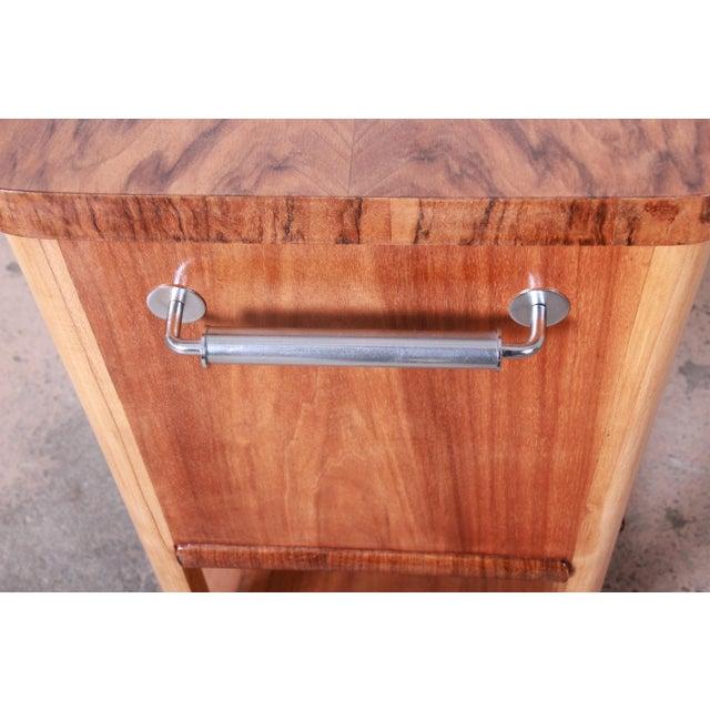 1930s Art Deco Burl Wood Rolling Bar Cart For Sale - Image 10 of 13