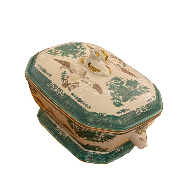 Early 20th Century Green Chinese Fitzhugh Tureen and Under Plate For Sale - Image 4 of 9