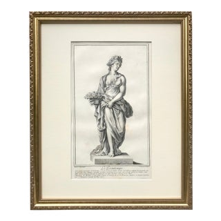 """Antique 18th Century Italian Engraving """"The Spring"""" 1702 Roman Statues For Sale"""