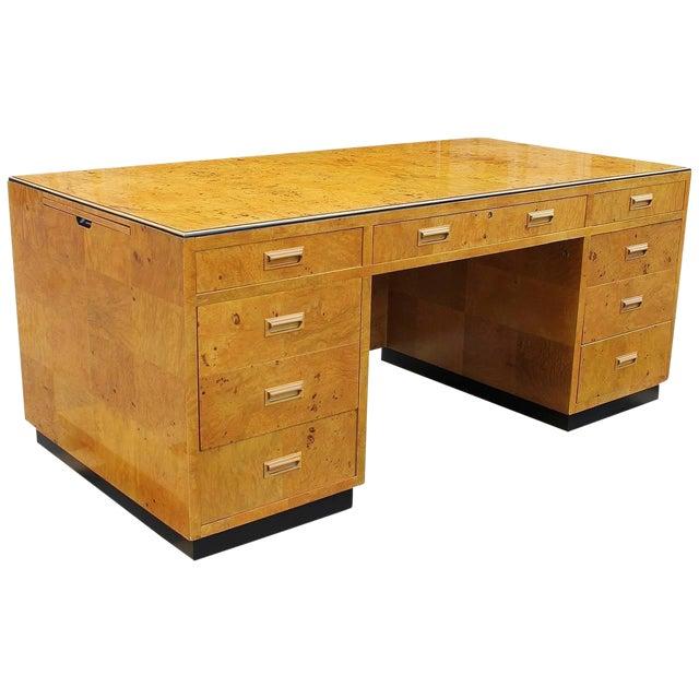 1970s Burl Executive Desk by Henredon For Sale