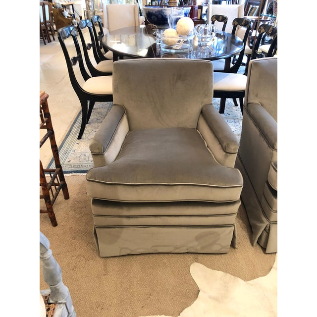 Modern Moviestar Grey Platinum Pair of Vintage Club Lounge Chairs For Sale - Image 3 of 10